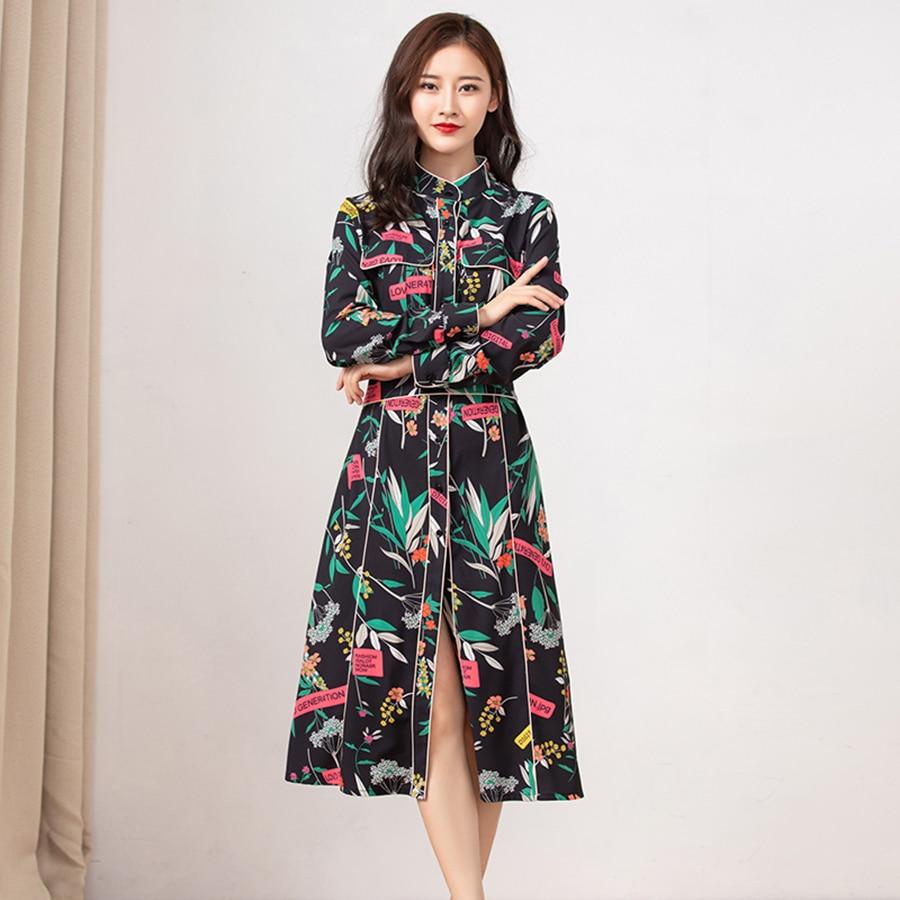 VERDEJULIAY المدرج النساء الخريف اللباس الصيف 2019 جديد أزياء عالية الجودة زهرة طباعة انقسام خمر فستان طويل Vestidos-في فساتين من ملابس نسائية على  مجموعة 3