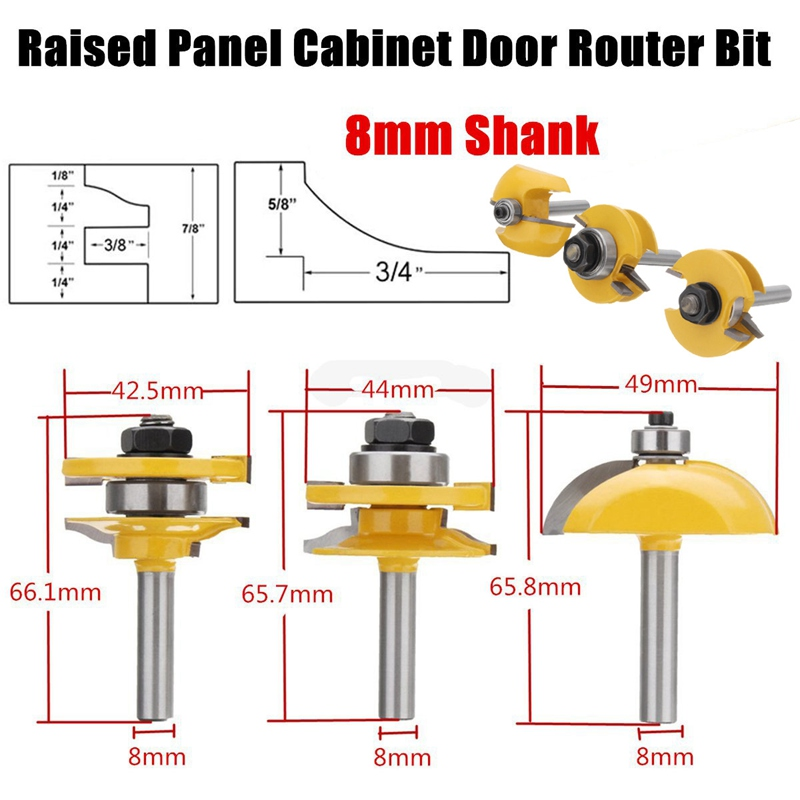 Wolike 3Pcs 8mm Hard Alloy Shank Raised Panel Cabinet Door Router Bit Set Woodworking Cutter Kit Milling Cutter Machine Tools цены