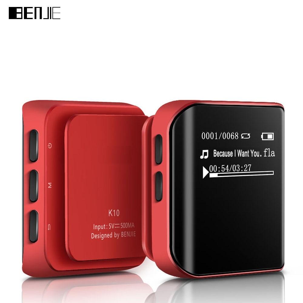 Original BENJIE Sports MP3 Player K10 Mini 8G Hyperboloid OLED MP3 Anti-sweat Hifi Music Player Support FM Radio E-book Clip