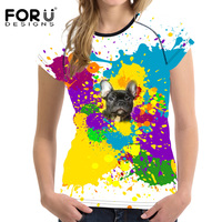 FORUDESIGNS Summer Women Casual T Shirt Fashion 3D Colorful Dog Husky Cat Printing T Shirt For