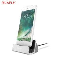 Raxfly phone holder para iphone 5 5s se 5c 6 6 s plus 7 7 além de adaptador de carregamento station cradle carregador de mesa suporte para ipad Mini