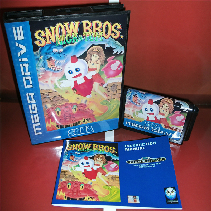 Snow Bros. EU Cover with Box and Manual For Sega Megadrive Genesis Video Game Console 16 bit MD card