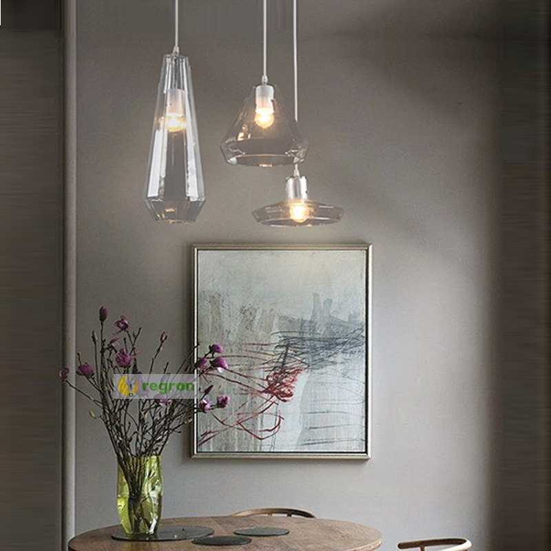 Modern Minimalist hanging lamp Restaurant Bar Counter Window Display Pendant Art Led Shadow Crystal Glass pendant light