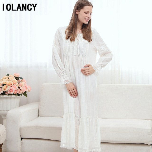 7a5c08690f Maternity Pijama Dress European Palace Retro Princess White Nightgown Long  Sleeved 100% Cotton Pajamas for Pregnant Women YFQ142