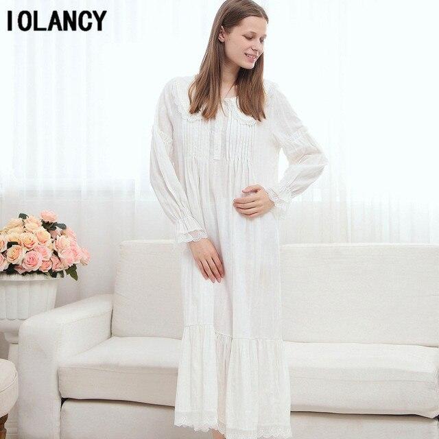 11ff10e8e Pijama de maternidade Vestido Europeu Palácio Retro Princesa Camisola Branca  de Manga Longa 100% Pijama