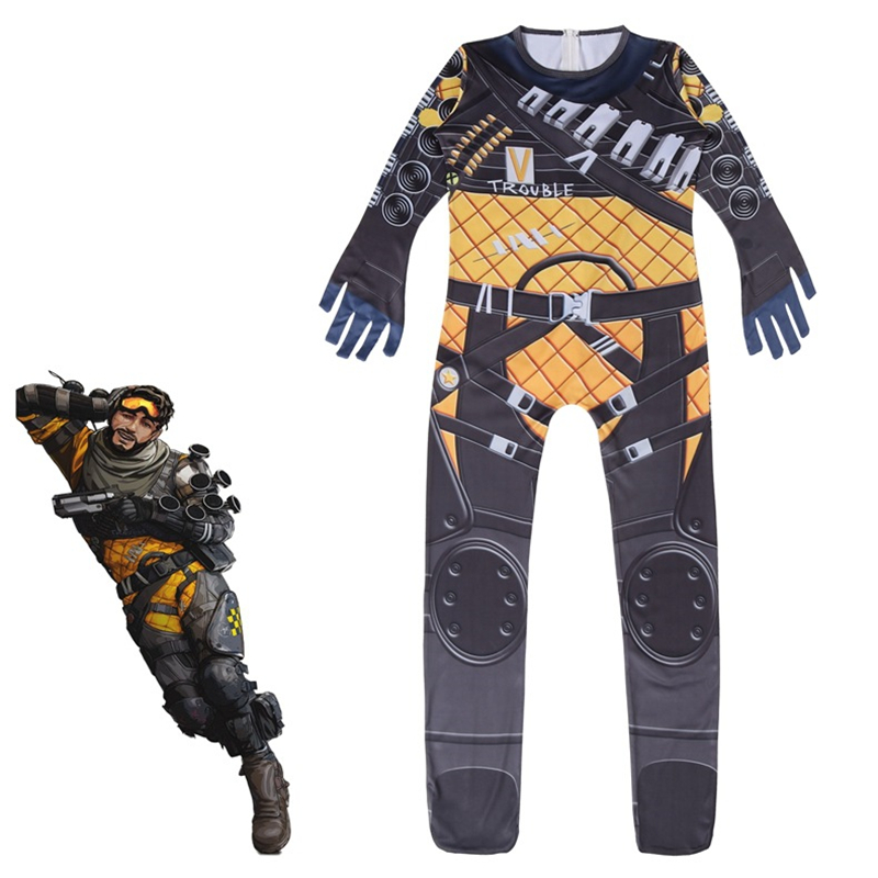 2019 New Game Boys Apex Legends Cosplay Costume Role Playing Zentai Bodysuit Jumpsuit Suits Halloween Costume For Kids