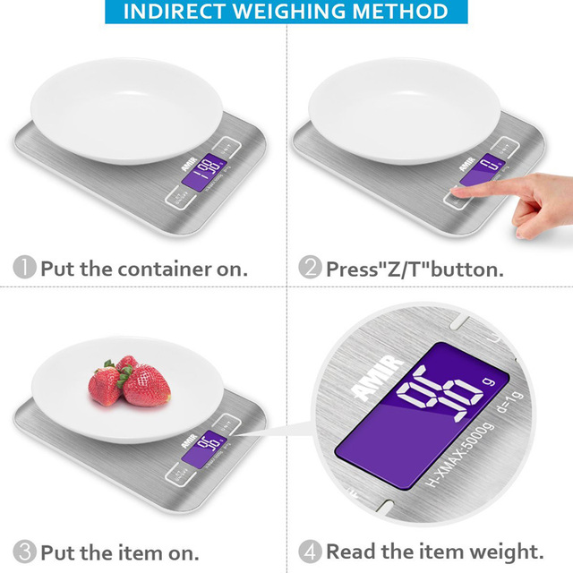 Digital Kitchen Scale 5000g 1g Cooking Measure Tools Stainless Steel Led Platform Weight Electronic