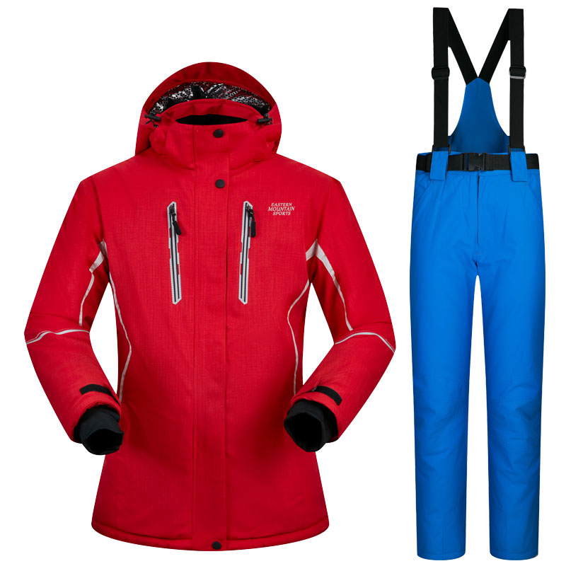 ski suit female pure color snow skiing jackets women thicken warm waterproof women's ski jackets and pants clothing sets 2018 new lover men and women windproof waterproof thermal male snow pants sets skiing and snowboarding ski suit men jackets