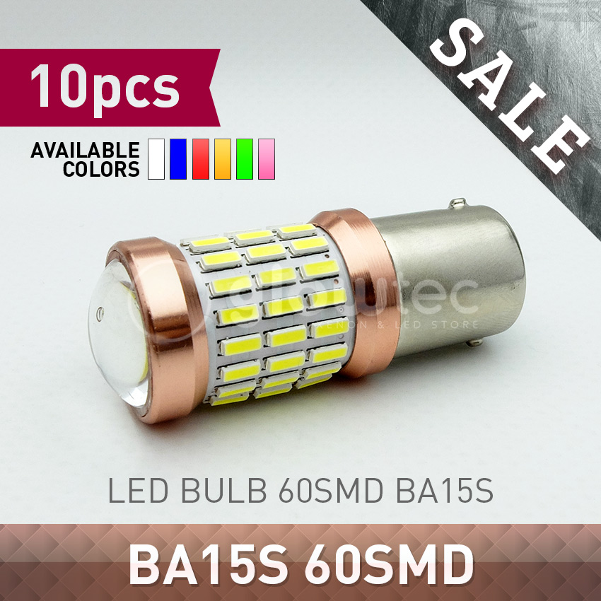 10pcs Ba15s 60 SMD Super Bright Car lights White LED 60SMD 4014 1156 Ba15s S25 P21W