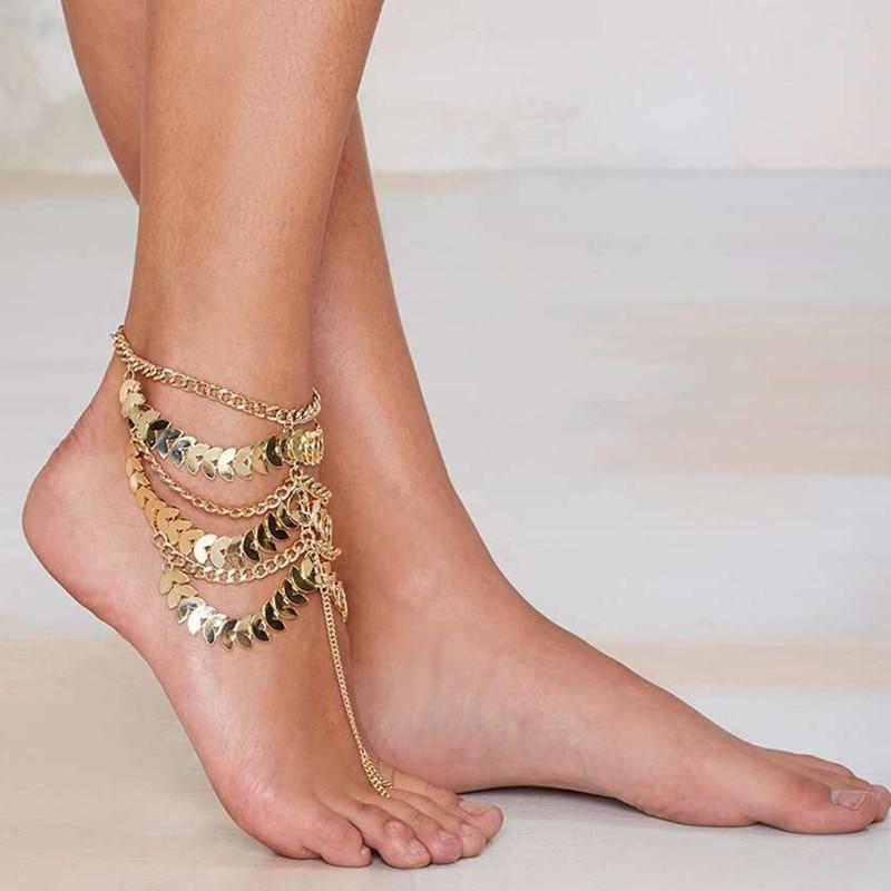 OATHYAN Bohemian Trendy Multilayer Anklet Bracelet For Women Handmade Gold Color Tassel Foot Jewelry Barefoot Sandals