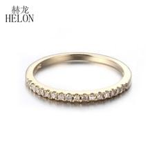 HELON Pave Diamantes Naturais Anel de Casamento Banda Solid 10 K Diamantes Ouro Amarelo Engagement Anniversary Mulheres Anel de Jóias Finas