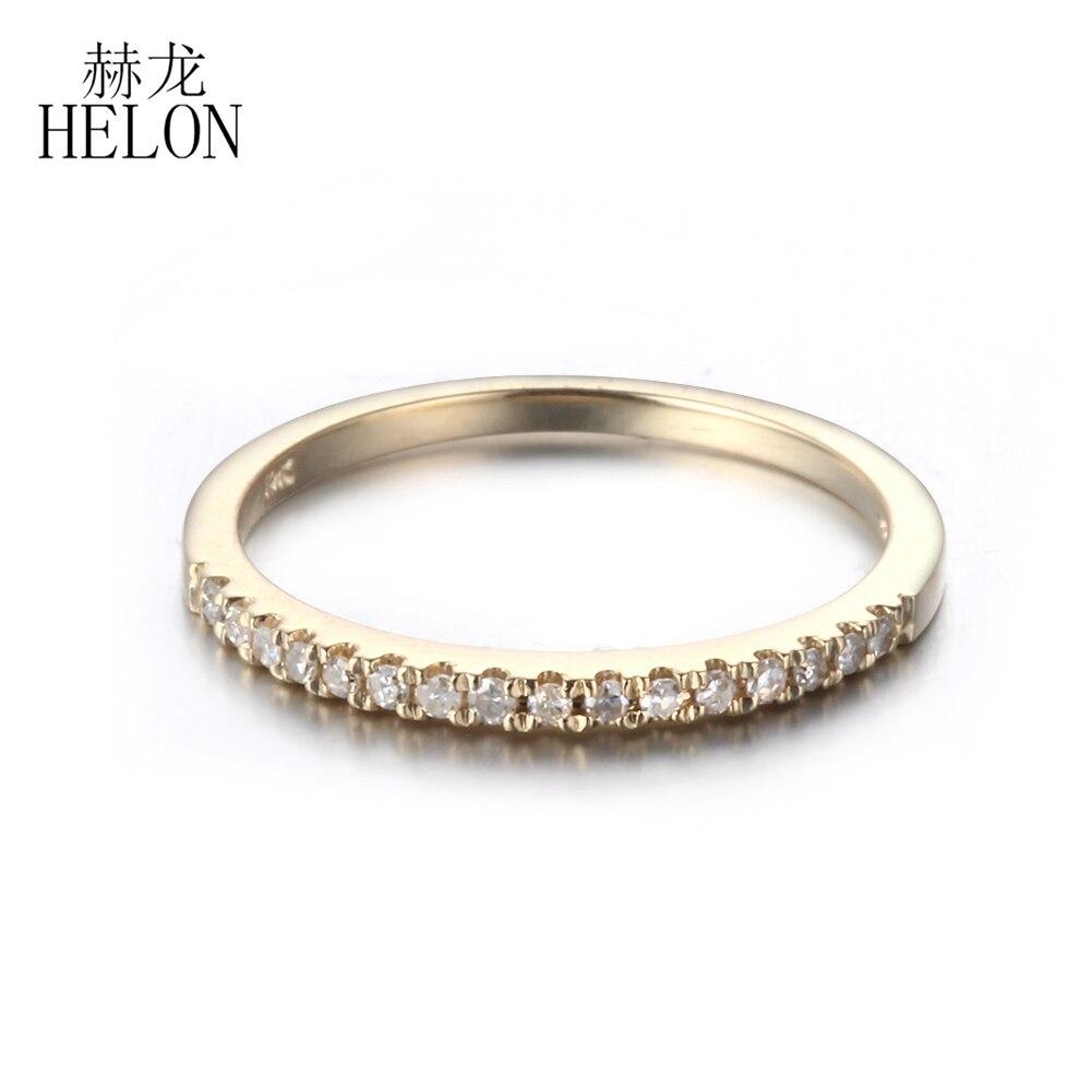 HELON Pave Diamanti Naturali Wedding Band Ring Solido 10 K Diamanti Oro Giallo di Fidanzamento Anniversario Monili Delle Donne Sottile Anello