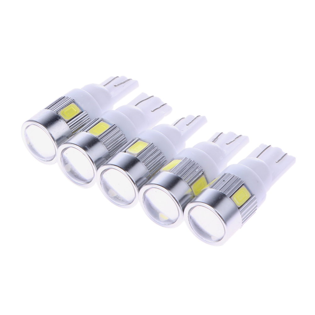 5Pcs White High Power Automotive 3W LED Lights Show Wide Light T10 5630 6SMD Auto Light-emitting Diode Lamp Bulbs Accessories габаритные огни lx t10 10 5630 20