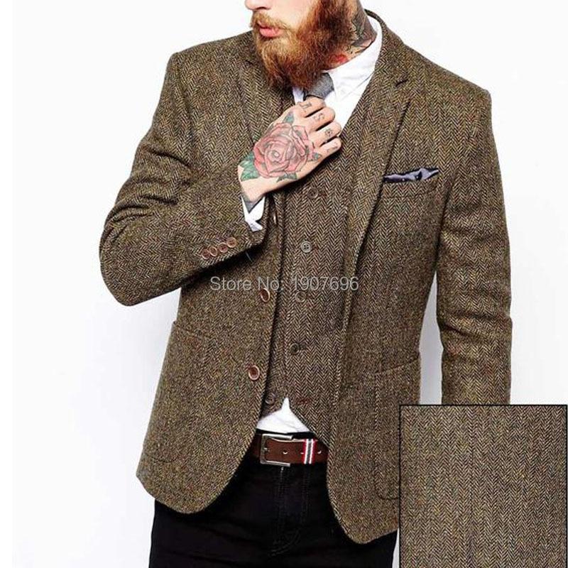 Men's Clothing Mens Wool Blazer Striped Jacket Elbow Patch Blazer Tweed Blazers Coat Business Casual Overcoat Shierxi Sale Price
