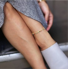 2019 Chic New Colorful Crystal Bead Anklet for Women Beach Sexy Gold Color Foot Chain on The Leg Fashion Ankle Bracelet Jewelry chic solid color anklet for women