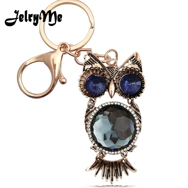 Antique Golden Owl Keychain Women Big Crystal Cute Animal Keyring Car  Rearview Mirror Hanging Pendant Wallet Key Chains Holder 6009e5e5d0d9