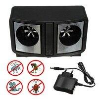 Elektronik Ultrasonik Haşere Kovucu Siyah Çift Sonic Fareler Sıçan Kemirgen Kovucu Kontrol Sivrisinek Hamamböceği Bug AB Tak Düşük Güç