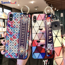 For Iphone XR XS XSMAX Case With Wristband Strap Soft TPU Cover 8 Plus 7 6 6S Shell Luxury Capa Coque
