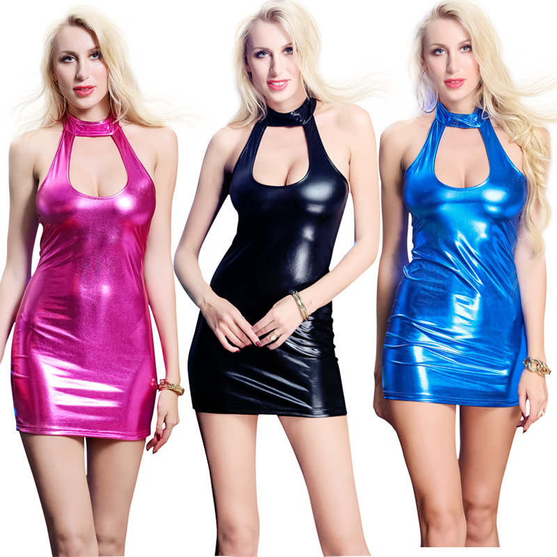 Sexy Metallic Shiny Turtle Neck Cut Out Bust Bodycon Mini Dress Sleeveless Stage Dance Wear Dancing Costume Clubwear M-2XL