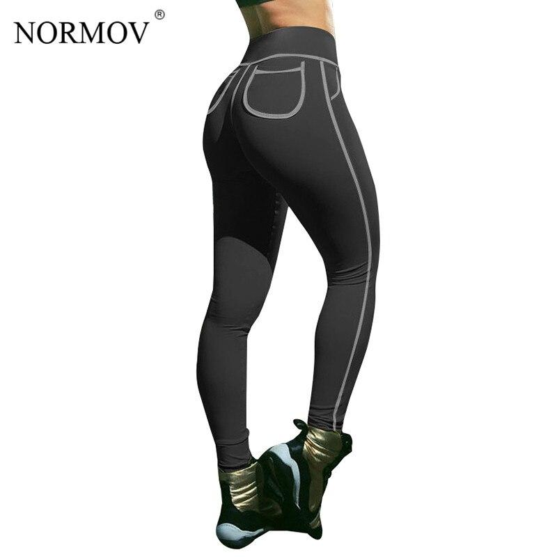 NORMOV S-3XL мода плюс Размеры Фитнес леггинсы Для женщин брюки карман Push Up спортивные Леггинсы Activewear конфеты Цвета джеггинсы