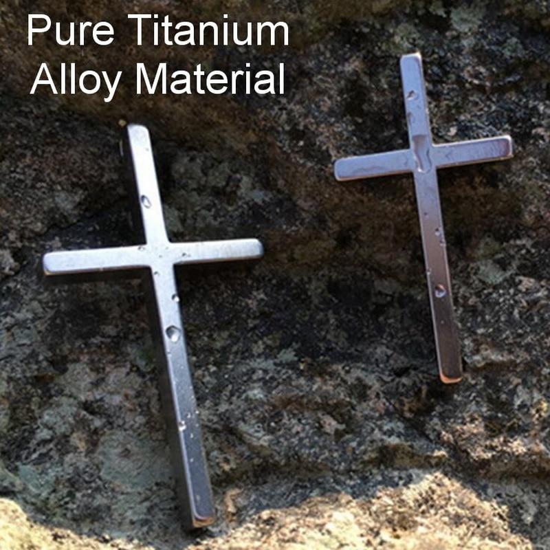 Pure Titanium Material EDC Self-Defense Cross Portable Tactical Defense Necklace Army Fan Woman Self-Defense Tool Broken Window