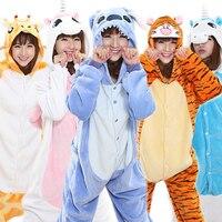Invierno Unisex Adultos Pijamas Animal Cosplay de la Historieta Con Capucha Onesie ropa de Dormir de Franela Panda Stitch Unicorn Tigger Pikachu