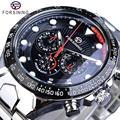 Forsining, модные мужские часы, мужские, Лидирующий бренд, Авто механические часы с календарем, водонепроницаемые, спортивные, Стальные наручные...