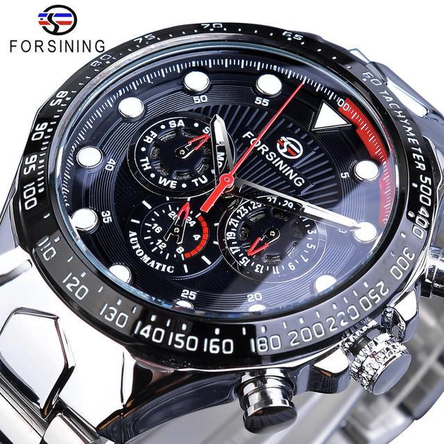 Forsining Fashion Men Watches Male Top Brand Auto Mechanical Watch Calendar Waterproof Sports Steel WristWatch Relogio Masculino