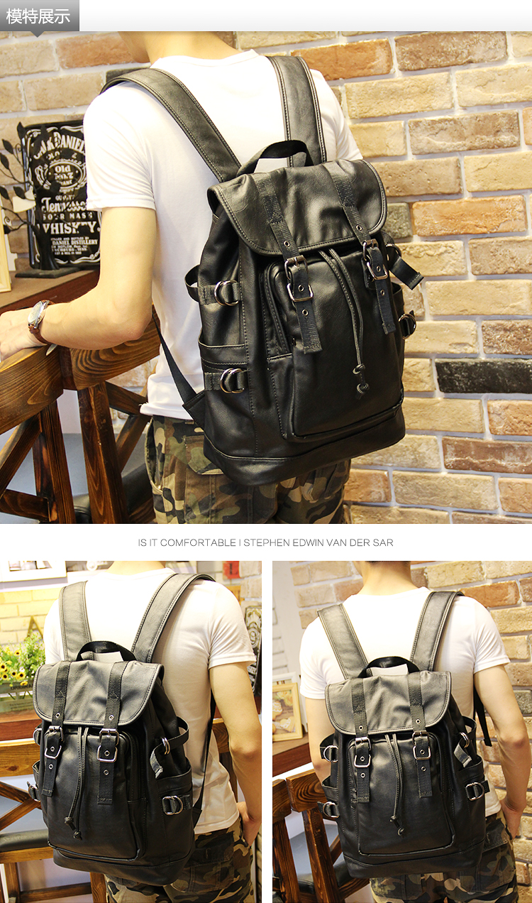 051018 new hot man fashion leather travel backpack student school bag 11