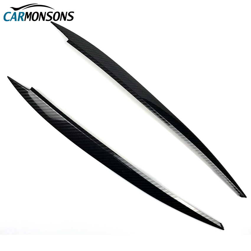 Carmonsons Headlights Eyebrow Eyelids Plastic <font><b>Carbon</b></font> Fiber Stickers Cover for Volkswagen <font><b>VW</b></font> <font><b>Golf</b></font> <font><b>7</b></font> MK7 GTI R Rline Car Styling image