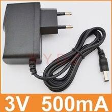 1 PCS 3 V 500mA Alta qualidade AC 100 V-240 V Conversor adaptador de alimentação de Comutação DC 3 V 0.5A 500mA Fornecimento UE Ficha DC 5.5mm x 2.1mm
