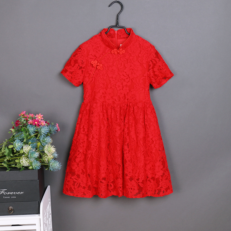 Brand family look clothes girl lace evening dress mom daughter Improved cheongsam Chinese dresses mother and girls summer dress brand summer sunflower lace plus large size mom girl princess one piece mother and daughter skirts kids girls sleeveless dresses