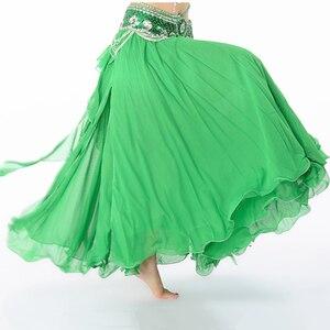 Image 2 - Jupe Maxi en mousseline de soie, 11 couleurs pour danse du ventre pour femmes, 3 couches, cercle complet, taille haute, offre spéciale