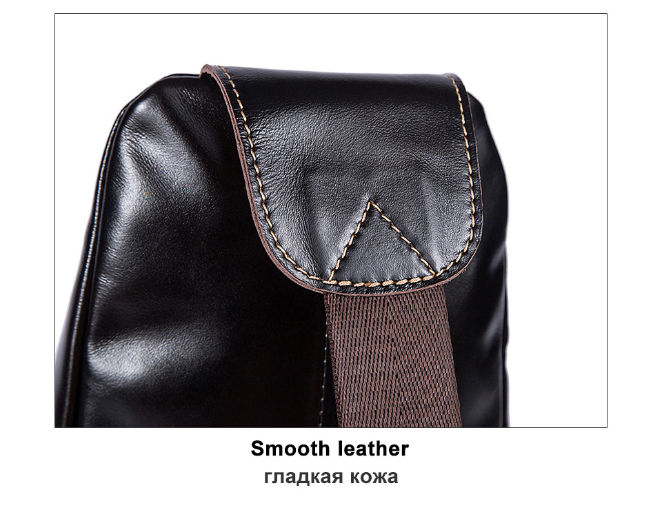 couro genuíno sling saco de bolso masculino