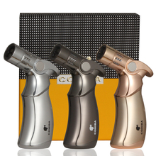 COHIBA Cigar Lighter 4  Jet Flame Table Torch Lighters Windproof Gas Butane Gun Style Cigar Cigarettes Lighter W / Gift Box