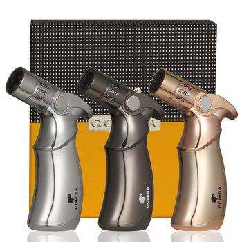 цена на COHIBA Cigar Lighter 4  Jet Flame Table Torch Lighters Windproof Gas Butane Gun Style Cigar Cigarettes Lighter W / Gift Box