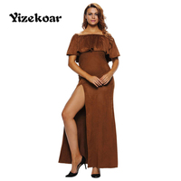 2017 New Arrival Hot Sales Women Party Sexy Off Shoulder Novel Ruffle Top Slit Suede Long