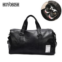 HOYOBISH Korean Style Men Travel Duffle Bags Waterproof Leather Handbags Shoulder Bag For Women Large Capacity
