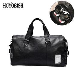 HOYOBISH Korean Style Men Travel Duffle Bags Waterproof Leather Handbags Shoulder Bag For Women Large Capacity Weekend Bag OH301