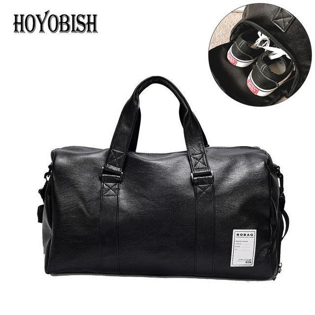 Hoyobish Korean Style Men Travel Duffle Bags Waterproof Leather Handbags Shoulder Bag For Women Large Capacity