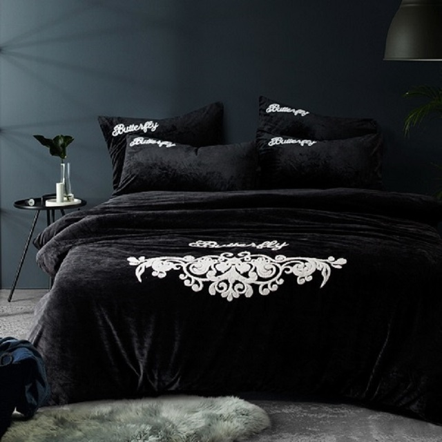 Thick Fleece Winter Warm Bed Set Black Grey Bedding Sets Queen Size Bed  Sheet/Fit