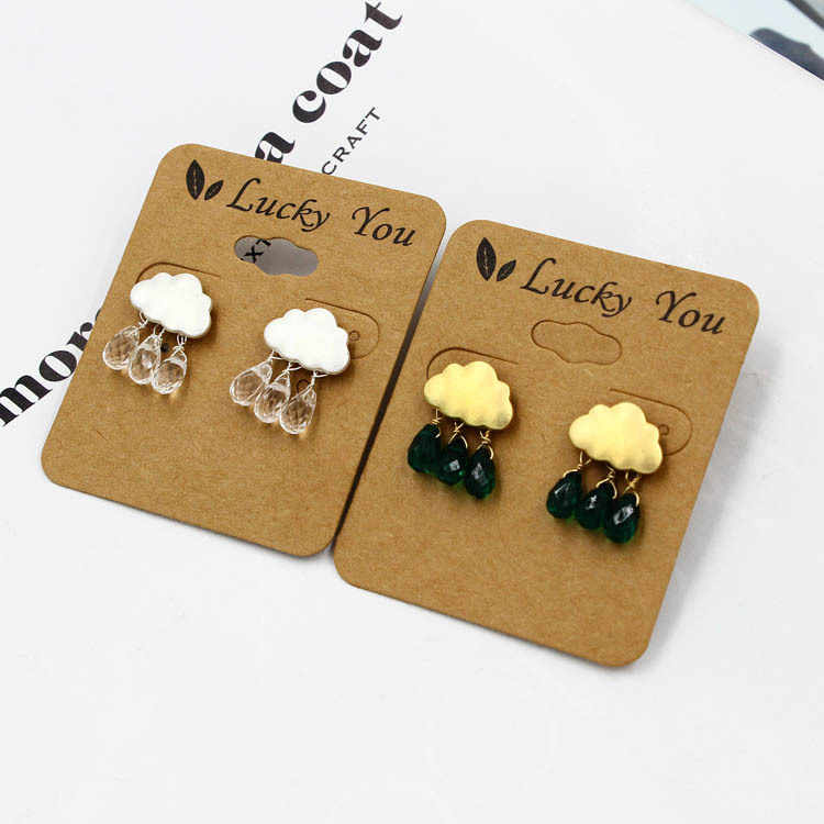 ed5fb2bf842c7 Fashion Simple Summer Cloud Rain water crystal beads stud earrings cute  raindrops waterdrops earrings jewelry for woman