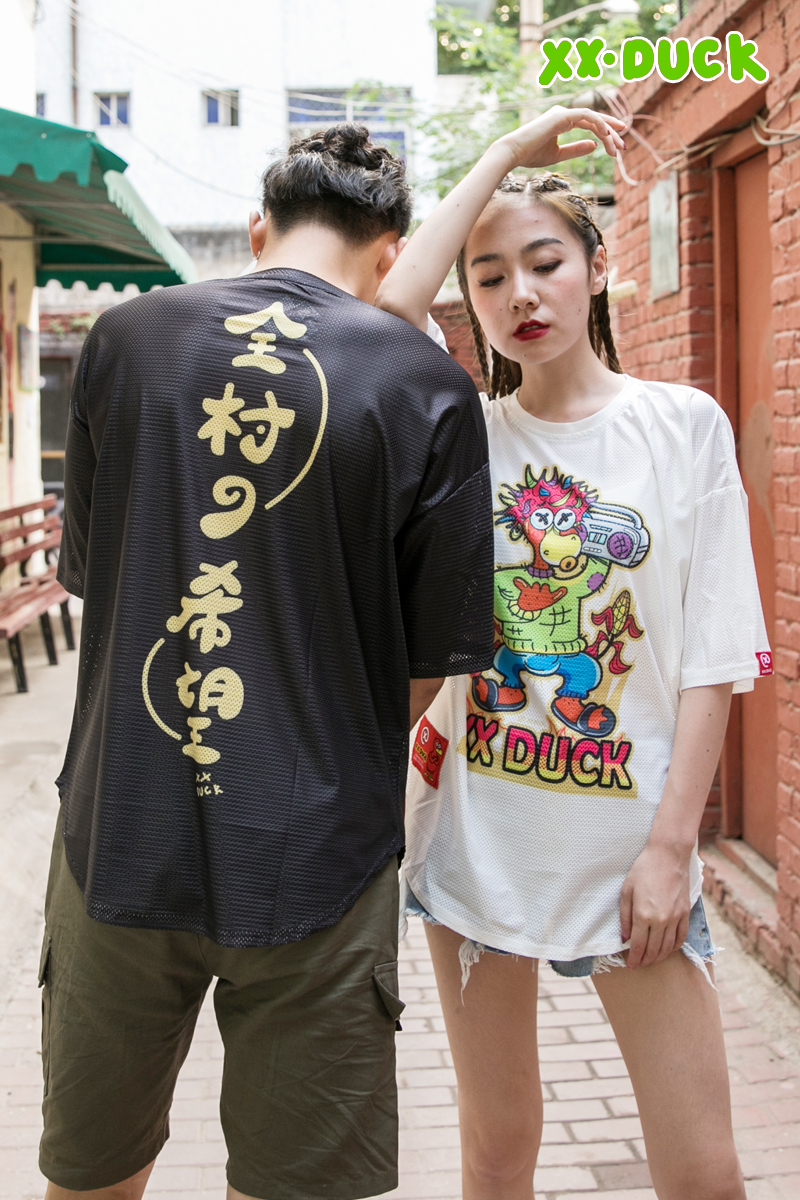 XXDUCK Popular Logo Loose Hip-hop T-shirt Cartoon Cute X Duck Hip-hop Fashion Short Sleeve Breathable New Couple Women's Wear