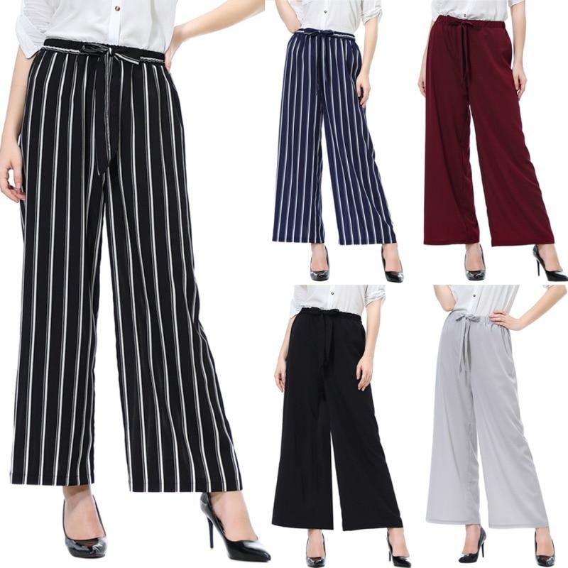 New Fashion Summer   Wide     Leg     Pants   Women High Waist Plaid Striped Loose   Pants   Elegant Office Ladies Trousers M-L X4