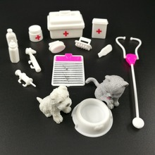 Bebek Playset tıbbi ekipman seti malzemeleri bebek Pet Barbie bebek aksesuarları bebek oyuncakları noel hediyesi bebek seramik karo