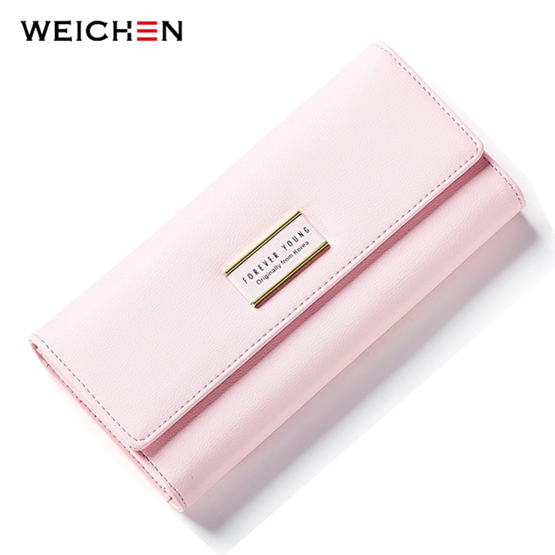 WEICHEN Solid Long Wallet Women Simple Fashion Clutch Wallet Brand Design Lady Purse Female PU Leather Coin Purses Phone Pocket ybyt brand 2017 new fashion simple solid zipper long women standard wallets hotsale ladies pu leather coin purses card package