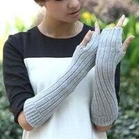 Fashion Sheep Wool Knitted Gloves For Women Ladies Long Hand Arm Fingerless Gloves Women Winter Warm