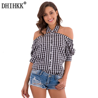 DHIHKK 2018 Summer Women Blouse New Fashion Casual Spring Tops Plaid Peter Pan Collar Off Shoulder