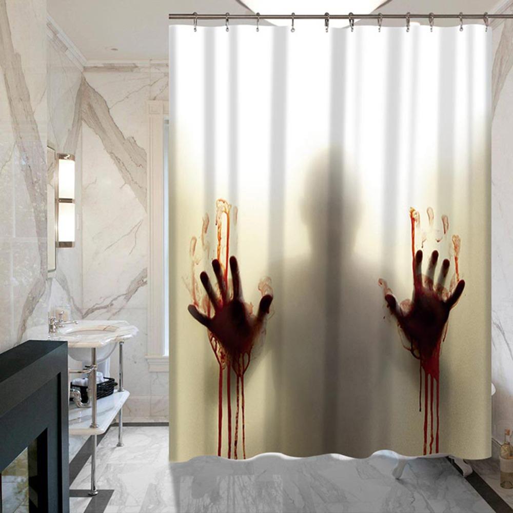 €14.4 41% de réduction|Sanglant main horreur personnalisé rideau de douche  salle de bains décoration effrayant maison décor Silhouette étanche pour ...