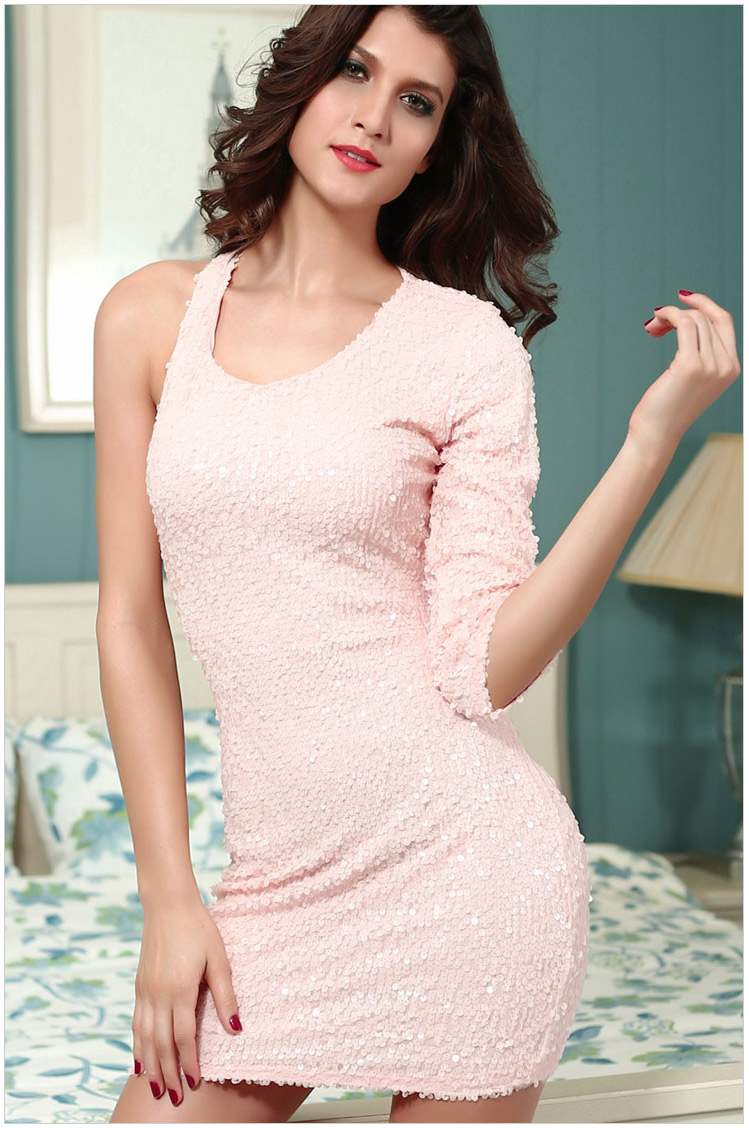 hot sale sexy night club bling mini dress women EU USA fashion party one  shoulder hollow out back design casual vestidos 2856-in Dresses from Women s  ... ba475455ab5e